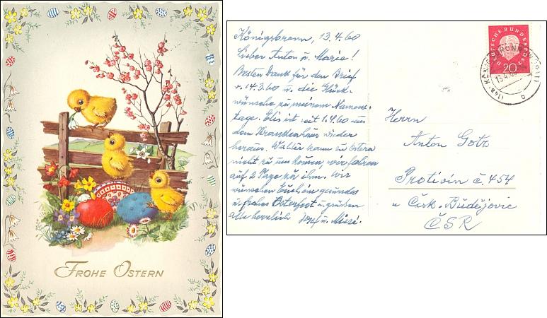 Pozdrav k Velikonocům 1960