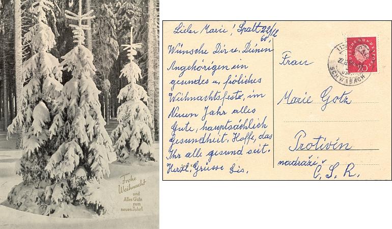 Vánoční pozdrav z roku 1960