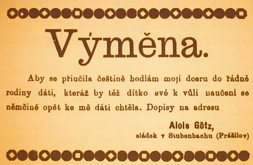 """Inzerát Aloise Gotze hledá pro dceru možnost výuky češtině (příjmení Gotz je psáno chybně a přehláskou a místní jméno Prášily je """"upraveno"""" na češtěji znějící """"Prášilov"""")"""