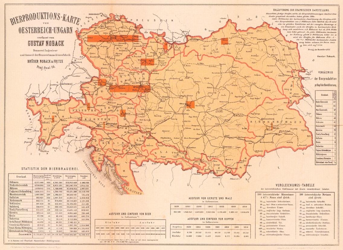 Mapa produkce piva v rakousko-uherském mocnářství z roku 1871 jasně vyznačuje převahu Čech nad ostatními částmi habsburského soustátí