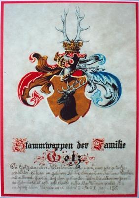 Rodový erb Gotzů, který poskytl Alois Gotz ze Sušice paní Blance Marešové, jejíž prapraděd byl bratrem jeho předka