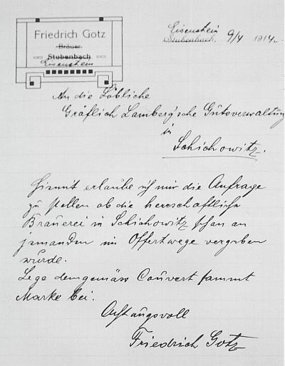 Dopis Friedricha Gotze s přepsaným záhlavím dopisu, odeslaný roku 1914 ze Železné Rudy hraběcí lamberské hospodářské správě v Žichovicích