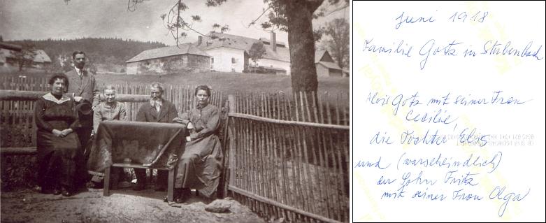Rodina Gotzova v Prášilech na snímku z června roku 1918, který zachycuje zleva stojícího syna Fritze a sedící jeho ženu Olgu, dále za stolem Aloise Gotze s chotí a zcela napravo jejich dceru Elis - za otcem a dcerou se pak ve stráni tyčí komplex budov prášilského pivovaru