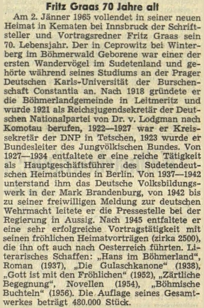 Jeho stručný životopis uveřejnil jako pozdrav ksedmdesátinám rakouský krajanský list