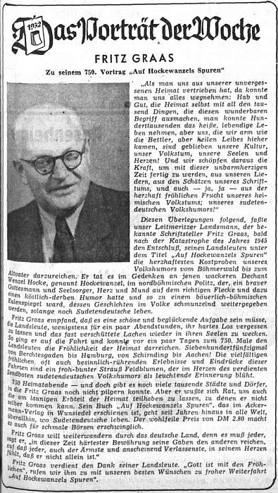 Medailon, který vyšel v květnu 1952 na stránkách ústředního orgánu krajanského sdružení