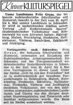 V dubnu a červnu 1953 referuje Sudetendeutsche Zeitung o Graasově návštěvě vyhnaných krajanů ve Švédsku...