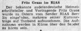 ... a v květnu 1954 o jeho pozvání o Velikonocích k namluvení vlastních textů do rádia RIAS (tj. Rundfunk im amerikanischen Sektor)