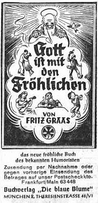 Inzerát (1952) jeho knihy v Sudetendeutsche Zeitung