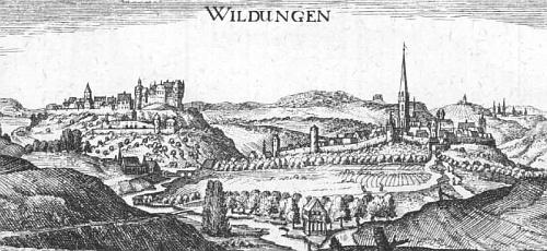 Hesenské město Wildungen s hradem knížat z Waldecku na rytině Matthiase Meriana z poloviny 17. století