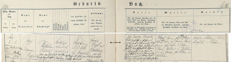 Záznam o jeho narození a křtu v matrice farní obce Rybáře (dnes části Karlových Varů)