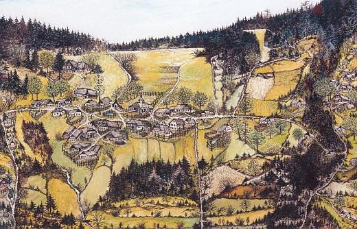 Ves Adlerhütte, jak vyhlížela kdysi a jak ji svou kresbou zachytil Rudolf Pimiskern (Stoahauer Rudi zAdlerhütte čp. 1), žijící dnes v bavorském Ruhstorfu