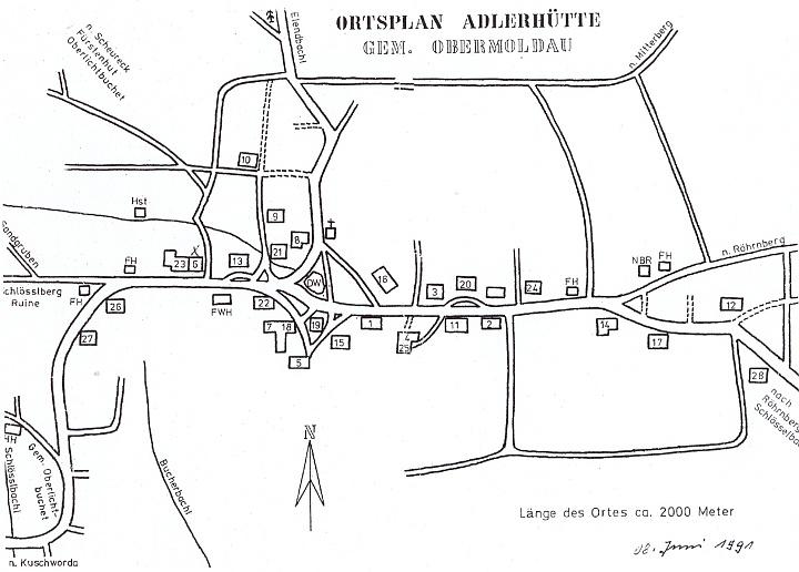 Plánek někdejší osady Adlerhütte
