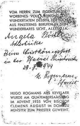 Angelina upomínka na svátek Krista krále, kterou jí v srpnu 1944 podepsal farář Hugo Rogmans