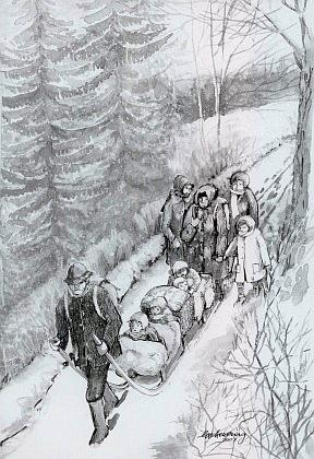 Útěk rodiny Plöchlovy dne 3. února 1946 zrodné Adlerhütte, jak ji zachytila roku 2007 na své kresbě Helmi Scheueringová