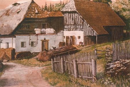 Usedlost rodiny Aloise a Theresie Plöchlových v Adlerhütte čp. 6 vroce 1936 na obraze malíře Adolfa Hofbauera (1898-1984) z Hořic na Šumavě