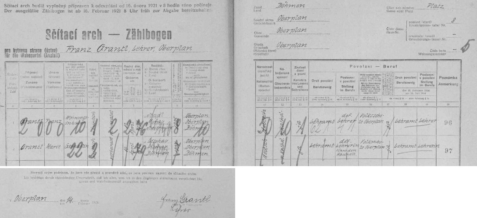 Arch sčítání lidu z roku 1921 pro hornoplánský dům čp. 8 zaznamenává ho, jím podepsaný, s manželkou Marií