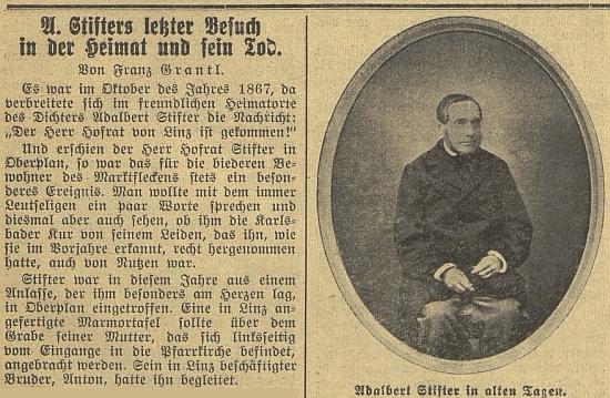 Úvod Grantlova článku o poslední Stifterově návštěvě v Horní Plané a o jeho smrti, jak vyšel v Budweiser Zeitung