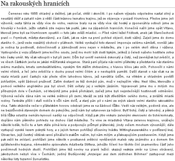 Úvodní pasáž delšího textu Josefa Viškovského (*25. října 1831 v Srlíně - †25. ledna 1887 v Soběslavi), líčící návštěvu u Greiplů ve Frymburku v létě 1855 a cesty kolem v doprovodu hostitelově