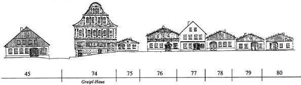 """""""V Pirlingu stojí dům, který všechny převyšuje..."""" (Dům Greiplových ve Frymburku, viz též Fanni Greiplová)"""