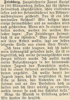 V dopise se vyjadřuje ke své rukopisné knize o Frymburku, která se dočkala až později knižního vydání