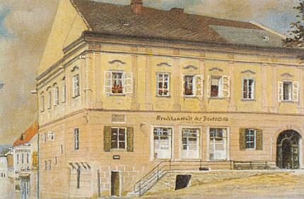 Dům Greiplových ve Frymburku na malbě Adalberta Sackmauera