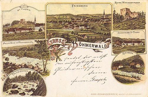 Pohlednice se záběry Frymburka, Svatého Tomáše, Vítkova Kamene, Čertovy stěny a Vltavy v Loučovicích, datovaná rokem 1896 i s vlastnoručním pozdravem a podpisem Fanni Greiplové