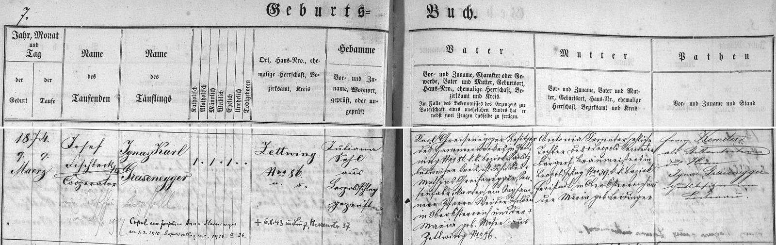 Záznam cetvinské křestní matriky o jeho narození s pozdějším přípisem o jeho svatbě v Leopoldschlagu roku 1910