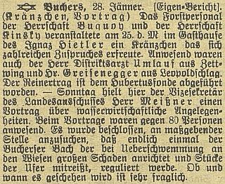 Podle této zprávy byl v lednu 1913 přítomen věnečku lesního personálu hraběte Buquoye vhostinci Igraze Hietlera v Pohoří na Šumavě