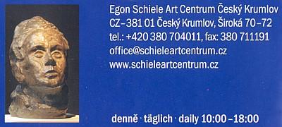 Bysta Egona Schieleho na prospektu českokrumlovského Art centra (2004)