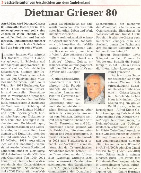 Pozdrav k jeho osmdesátinám na stránkách ústředního orgánu krajanského sdružení