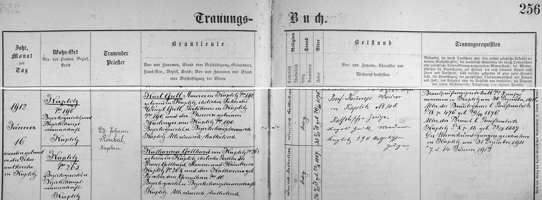 Záznam o svatbě rodičů v kaplické knize oddaných
