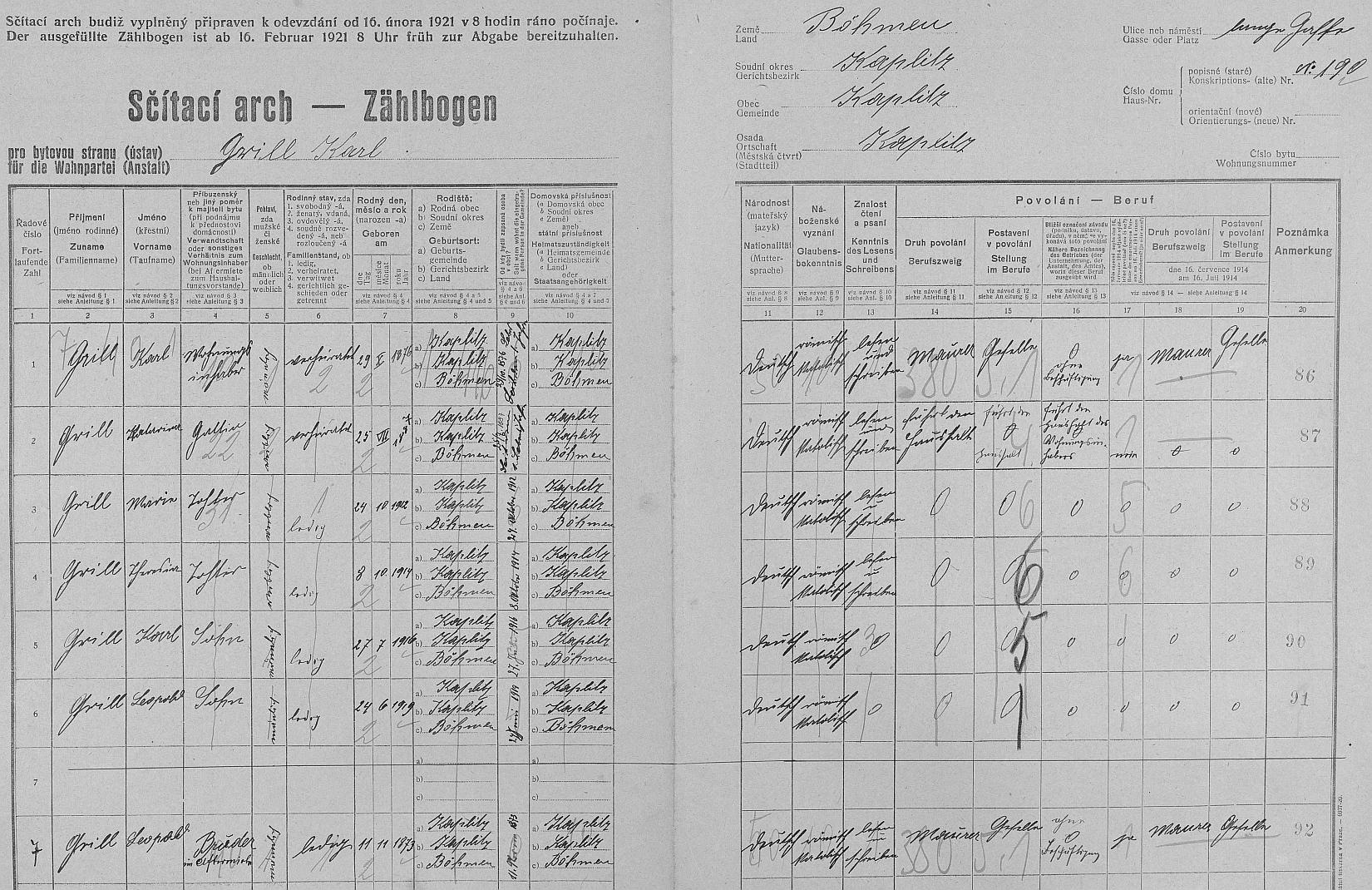 Arch sčítání lidu z roku 1921 pro dům čp. 190 v Kaplici s rodinou Grillovou ještě bez něj