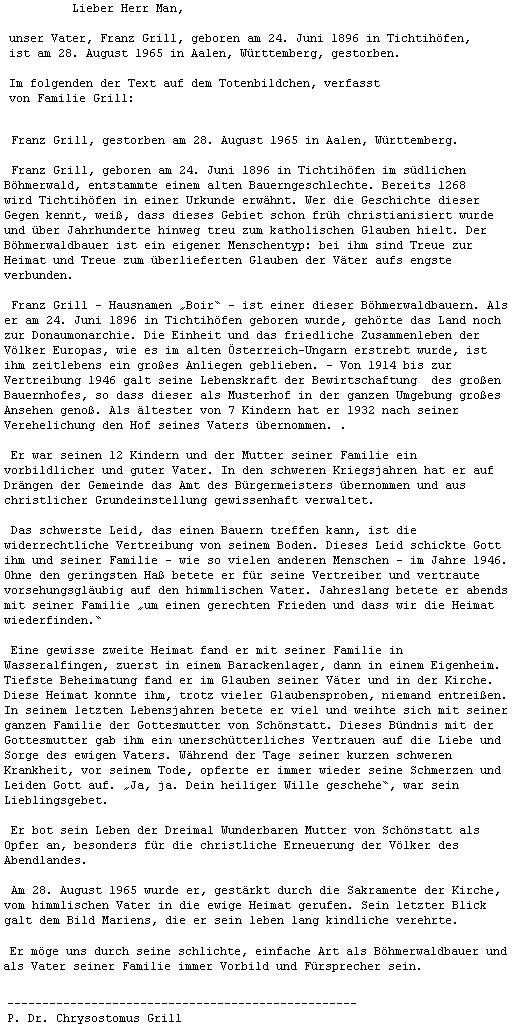 Dopis P. Chrysostoma Grilla o jeho otci, který Kohoutímu kříži zprostředkoval Mgr. Miloslav Man z pasovské univerzity