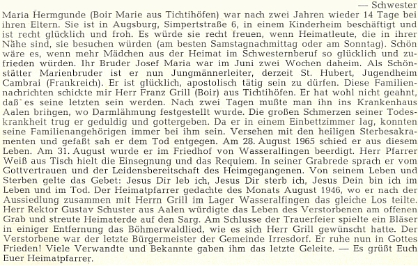 """Jeho nekrolog v krajanském """"diecézním"""" časopise, kam ho napsal poslední německý farář v Polné, jímž byl Franz Kitzhofer"""