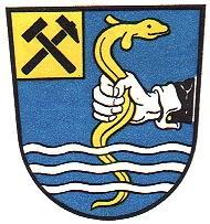 """Wasseralfingenský """"mluvící"""" znak, zpodobující chytání (chytat se řekne německy """"fangen"""") zlatého úhoře (""""der Aal"""")"""