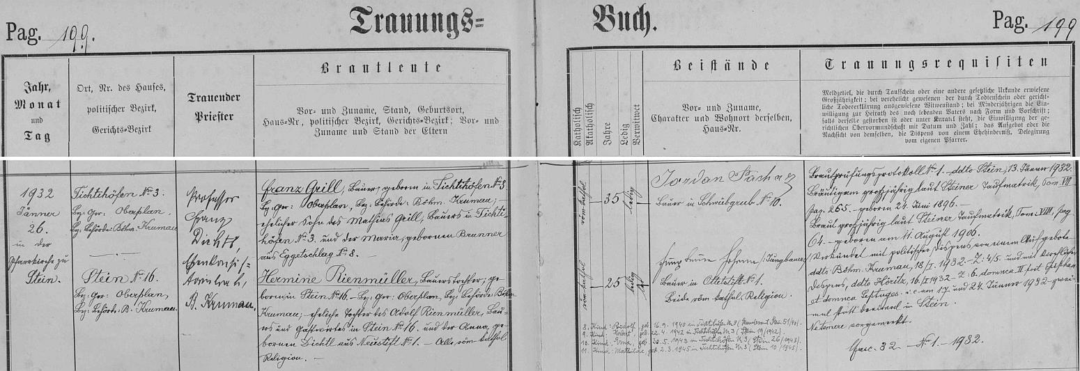 Záznam v oddací matrice farní obce Polná na Šumavě o jeho svatbě 26. ledna 1932 s Hermine Rienmüllerovou - v kostele sv. Martina v Polné na Šumavě je oddával P. Franz Dichtl