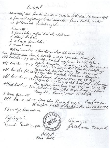 """Protokol o předání inventáře fary v Novém Světě z července 1946 nese jeho """"český"""" podpis"""