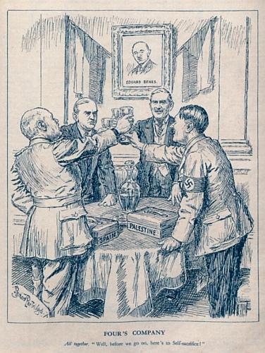 """Karikatura mnichovské konference, kde si Hitler, Mussolini, Chamberlain a Daladier připíjejí na """"sebeobětování"""" Československa ve prospěch míru - mnichovskou konferenci tak zasazuje do širšího kontextu snahy čtyř mocností vyčlenit mezinárodní společenství z řešení evropských a světových problémů (proto jsou na stole i jiné tehdy aktuální situace ve Španělsku a Palestině)"""