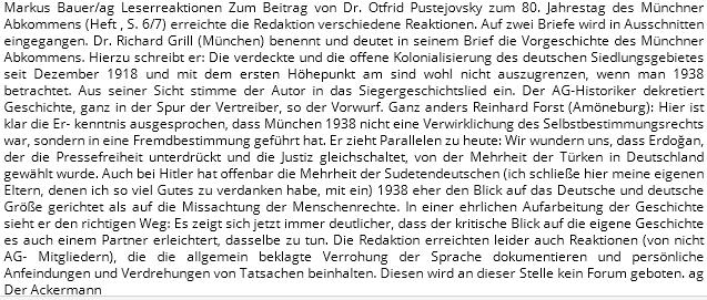 Roku 2018 nacházíme jeho reakci na článek k výročí mnichovské dohody v časopise Ackermann-Gemeinde