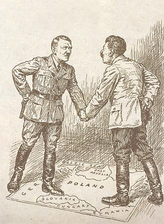 Stejný karikaturiska zde zpodobil Hitlera se Stalinem, když si v roce 1939 rozdělili Polsko (ČSR zmizela)