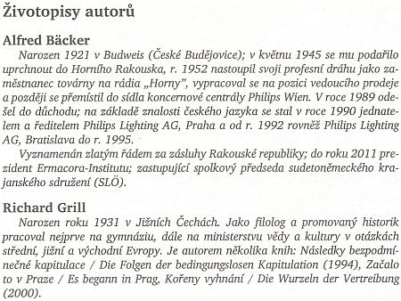 """Mezi sedmi životopisy autorů knihy o mnichovské dohodě figurují na prvých dvou místech jména Alfred Bäcker a Richard Grill (Jižní Čechy se ovšem správně píší s malým """"j"""")"""