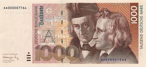 ... a na dnes už historické tisícimarkové bankovce, vytvořené podle něj