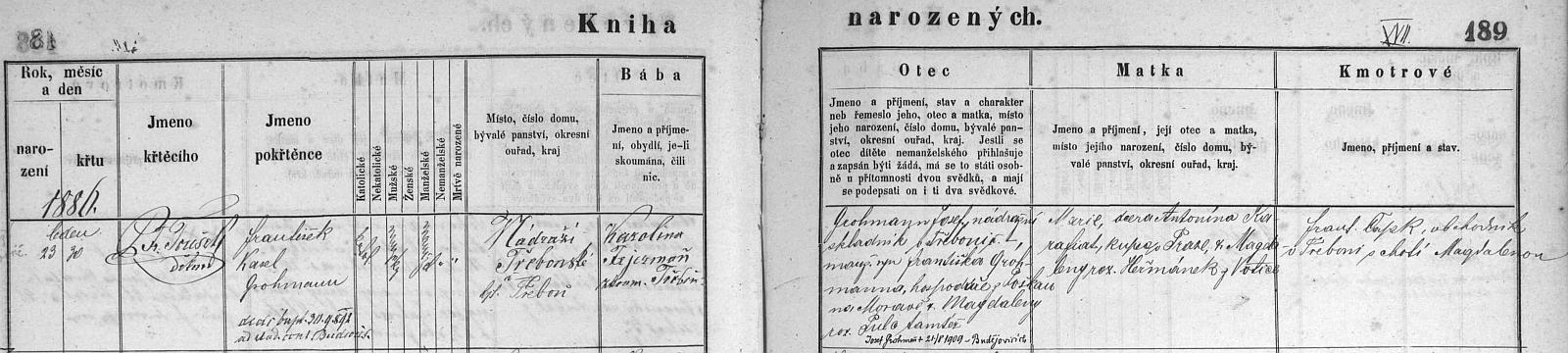 Záznam o jeho narození v třeboňské křestní matrice