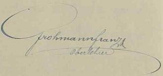 Jeho podpis ze stránek školní kroniky