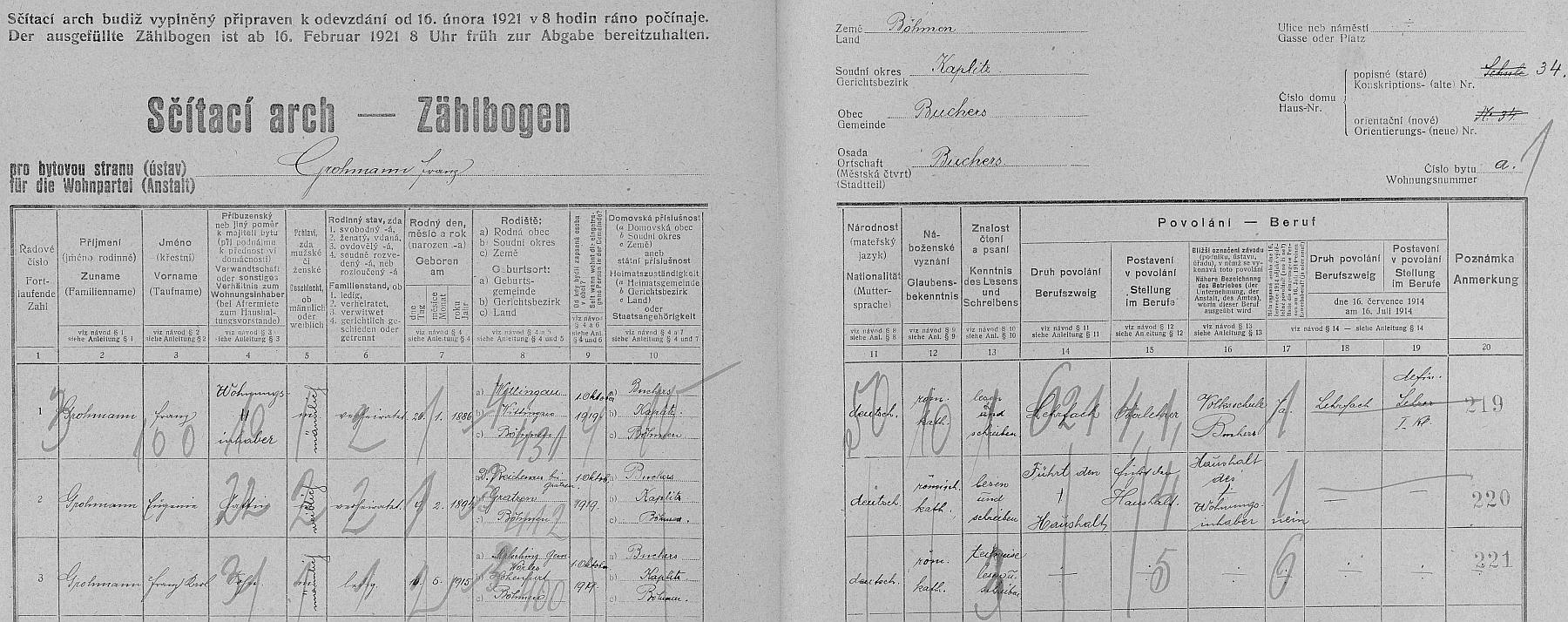 Arch sčítání lidu z roku 1921 pro dům čp. 34 v Pohoří na Šumavě, kde tehdy žil s manželkou a synem