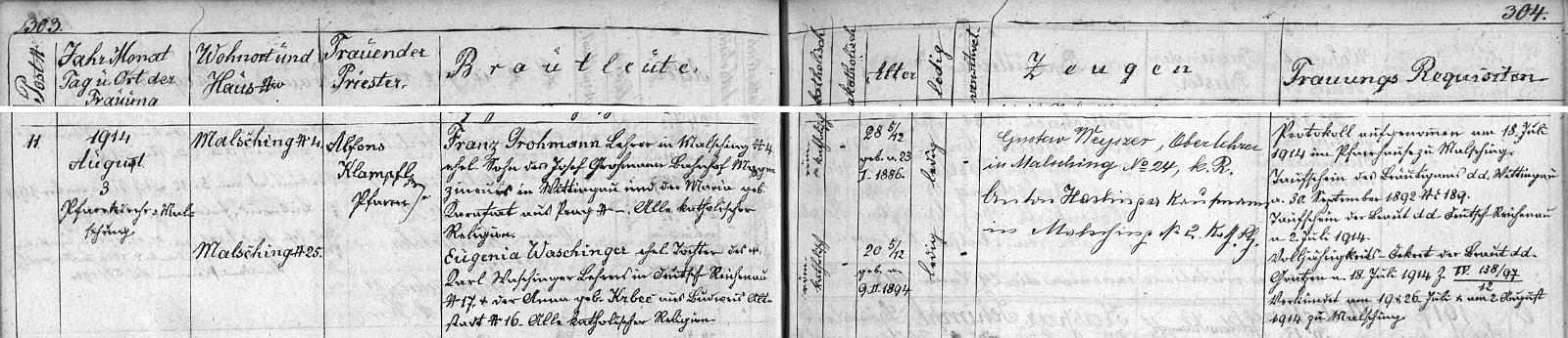 Záznam o jeho svatbě v malšínské oddací matrice