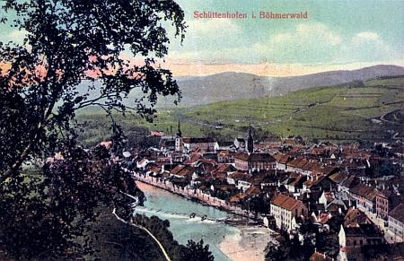 Sušice na Šumavě, tedy Schüttenhofen im Böhmerwald, jak město zachycuje stará kolorovaná pohlednice