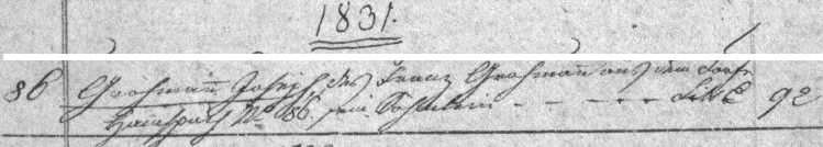 Jeho záznam v indexu křestní matriky farní obce Lipová (Hanšpach), kde se v čp. 86 narodil otci Franzi Grohmannovi