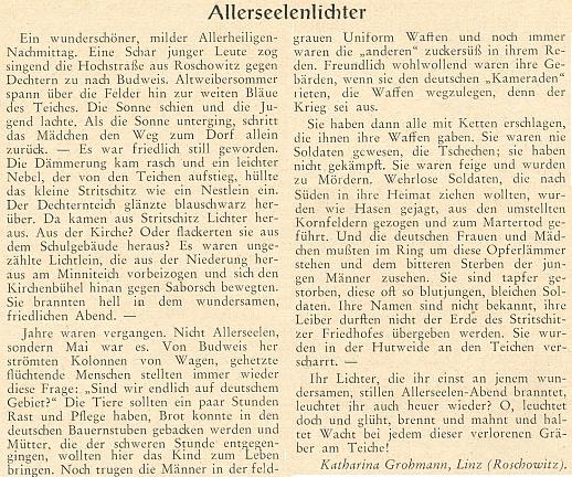 K Dušičkám v roce 1955 uveřejnila v Hoam! tento text