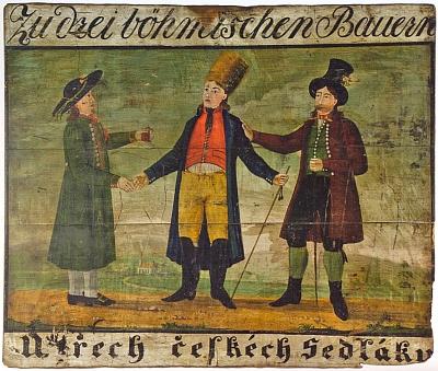 """Vývěsní štít hospody """"U třech českéch Sedláku"""" z počátku 19. století"""